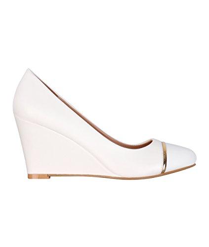 Wedge Plain Court Shoes (White, US 8 ),
