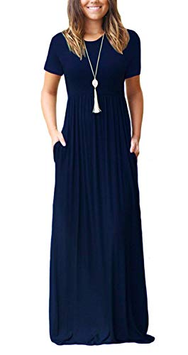 DEARCASE Women's Short Sleeve Casual Loose Long Maxi Dresses with Pockets Navy Blue Large -