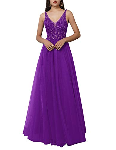 ALAGIRLS Women V Neck Beaded Long Prom Dresses Tulle Backless Formal Evening Gowns Purple US26Plus