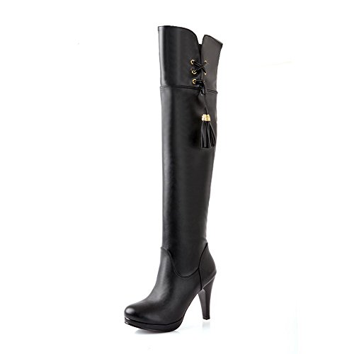 PU Soft Boots Square 8 and B Stiletto Solid Material Tassels M Womens AmoonyFashion Heels PU High with US Black wIYF4qC8