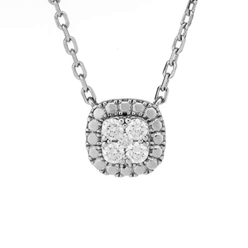 Ethical Cut Cushion Shape Pavé Cluster Lab Diamond Necklace, 0.20cts, Sterling Silver