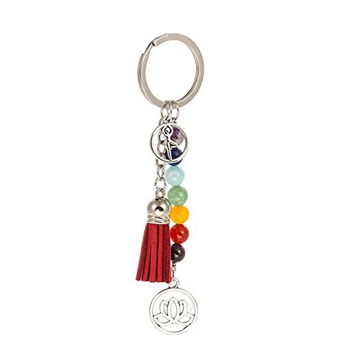 7 Chakra Stones Gemstones Healthy Yoga Charm Keychain for Women Tassel Key Ring Jewelry Gifts
