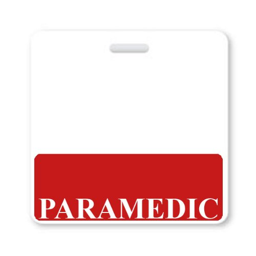 PARAMEDIC Horizontal Badge Buddy with Red Border by Specialist ID, Packaged and Sold Individually