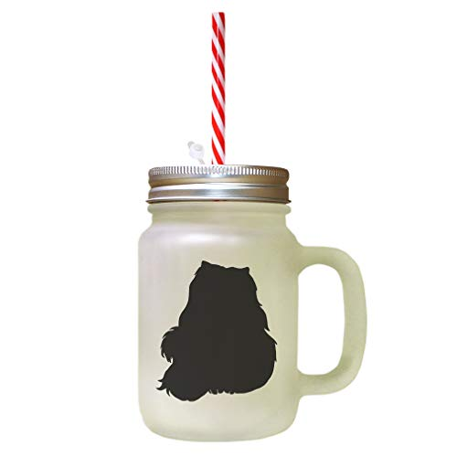 Black Himalayan Cat Silhouette #1 Frosted Glass Mason Jar With - Himalayan Cat Black
