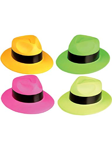 20's Neon Bootlegger Gangster Fedora Hat Party 12 Pack Costume -