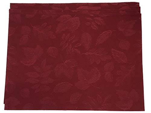 (Autumn Gatherings Damask Leaves Placemat Set of 4, Burgundy Wine Placemats)