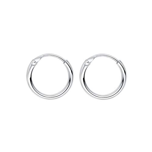 (Sleeper Cartilage Tiny Hoop Earrings 925 Sterling Silver Round Septum Hinged Nose Ring Helix Tragus Piercings 8mm 10mm 12mm (10mm))