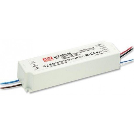 Mean Well LPF-60D-24 Enclosed Switching LED, Power Supply, Dimming Function, 24 Volts, 2.5 Amps, 60 Watts, 6.39 mm L x 1.71 mm W x 1.25 mm H ()