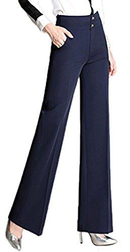 High Button Boots - Chartou Women's High Waist Double-Button Closure Boot-Cut Dress Pants (Small, Blue)