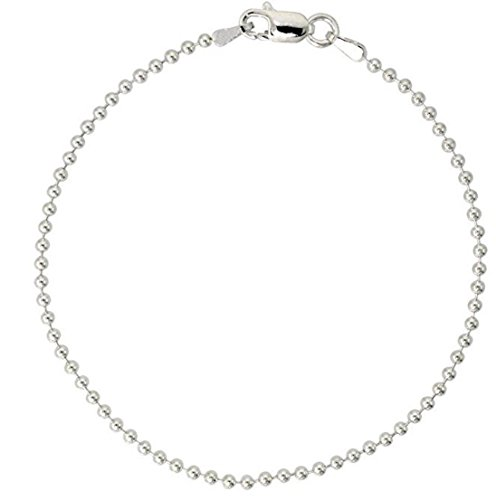 Sterling Silver Bracelet Pallini Bead Ball 7 inch Dainty Cute Chain for Women Girls Anniversary Birthday Mother's Gifts SB1-B