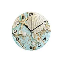 Dozili Starfish Seashell Decorative Wooden Round Wall Clock Arabic Numerals Design Non Ticking Wall Clock Large for Bedrooms, Living Room, Bathroom