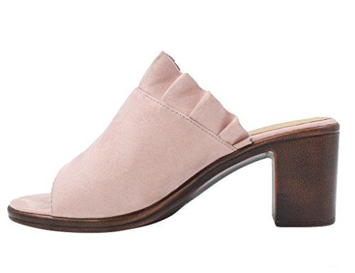Maxmuxun Chaussures Femmes Faux Sabots En Daim Bout Ouvert Sandales Milieu Bloc Talon Mules Nude Daim