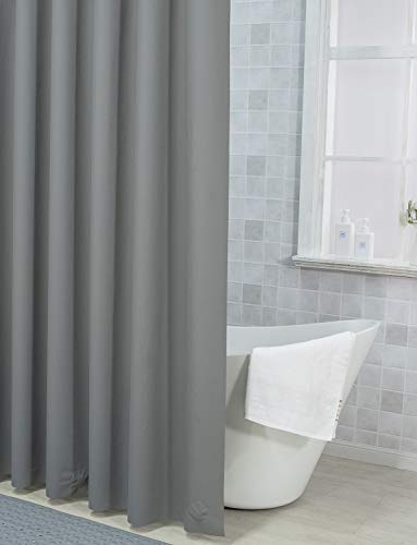 Plastic Shower Curtain, 36 x 72 Inches EVA 8G Shower Curtain with Heavy Duty Clear Stones and 6 Metal Grommet Holes Waterproof Thick Bathroom Curtains-Dark Grey