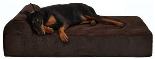 Giant Orthopedic Dog Bed w/ Headrest-Buck Skin/ Large (47L x 32W x 8H) For Sale