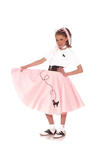 Hip Hop 50s Shop 4 Piece Child Poodle Skirt Costume Set, Size Large Light Pink (50s Pink Poodle Girls Costume)