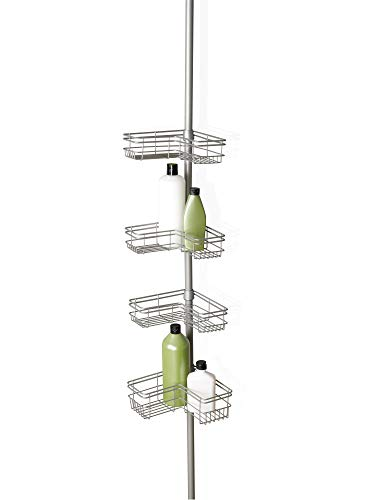 Zenna Home Shower Tension Pole Caddy, Satin Nickel