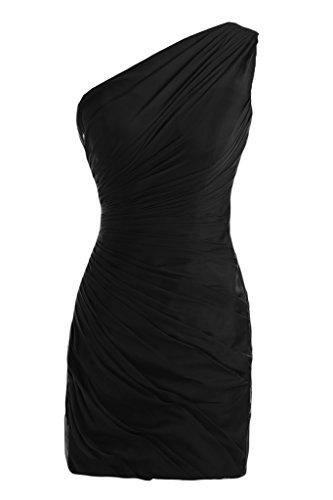One-Shoulder Toscana novia fácil por la noche vestidos de gasa vestido corto fiesta De antiguos alumnos negro