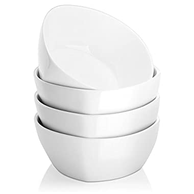 DOWAN 17oz Porcelain Bowls - 4 Packs, White, Unique Square and Round Style