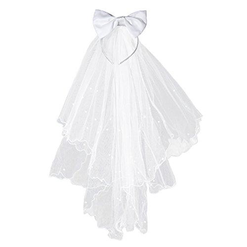 Flower Girl Veils White Wedding First Communion Hair Wreath with Bow ()
