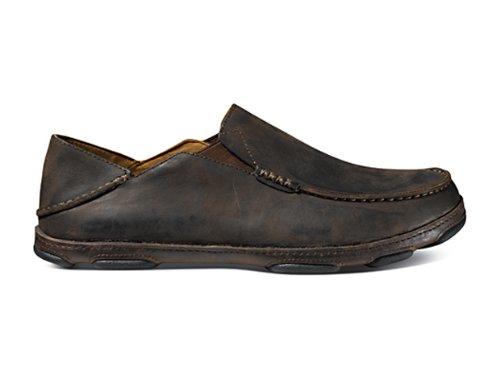 OluKai Men's Moloa Dark Wood/Dark Java Leather 9.5 Medium