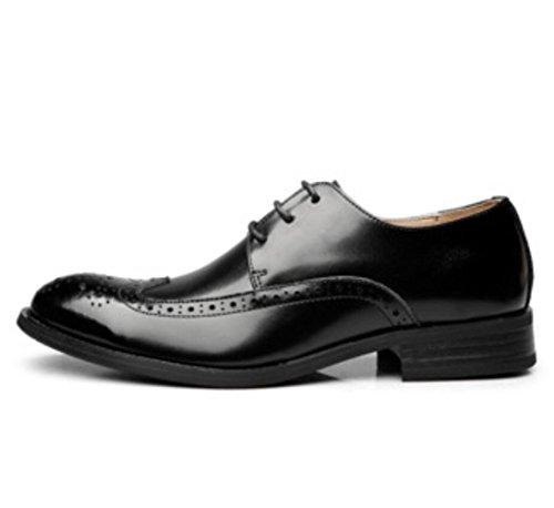 WLFHM Handgemachte Lederschuhe des Sommerkleid-Mannes Lederne Schuhe der M?nner Bullock-M?nner Black