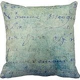 PUDA Vintage Blue French Script Parchment Paper Throw Pillows Case Canvas Soft Pillow Cover 18x18 . Amlaiwor
