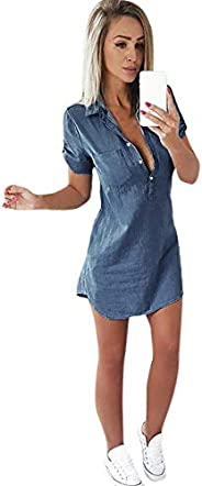 Spring Dress for Women 2021 Half Button Up Denim Short Dress with Sleeves Stylish Casual Dresses for Beach Vac
