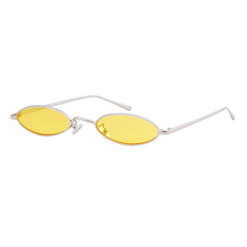 Steampunk Oval Sunglasses For Unisex Metal Frame Chic Clear Small Lens (Oval Thin)
