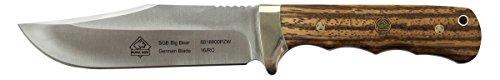 Puma SGB Big Bear Zebra Wood Scale Hunting Knife with Moulded Leather Sheath