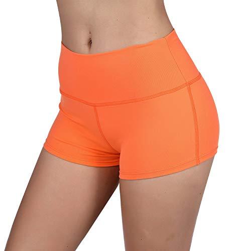 KNEEDARKYEAR Womens Stretch High waist Athletic Yoga Shorts (Large, Orange)