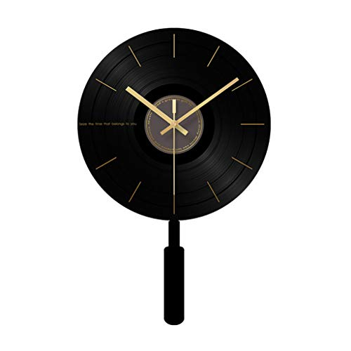 (Black Swing Wall Clock-Glass Mirror/Acrylic Pendulum/Metal Pointer,Modern Minimalism - Suitable for a Home Hotel)