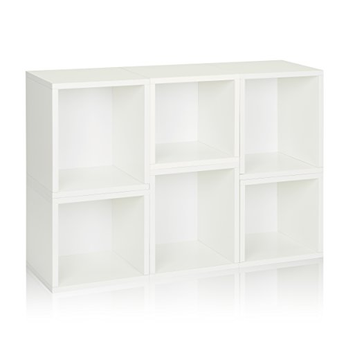 Way Basics Eco Stackable Arlington Modular Bookcase and Storage Shelf (Set of 6), White (made from sustainable non-toxic zBoard paperboard)
