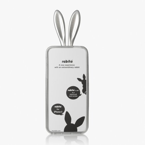 RABITO BUNNY Original Coque iPhone 5S/5 Protection Etui Portable LAPIN ARGENT