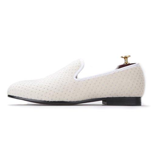 Salut & Hann Hommes Faits À La Main Chaussures De Velours Blanc Avec De Petites Strass Fête Et Mocassins Hommes De Mariage Pantoufle-sur