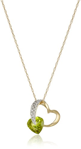 10k Yellow Gold Peridot and Diamond Pendant Heart Necklace (1/10 cttw, I-J Color, I2-3 Clarity), 18