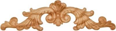 Veneered Oak Decorative Scroll Floral Ornament Applique - 10-7/8