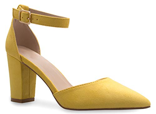 (OLIVIA K Women's Sexy D'Orsay Ankle Strap Pointed Toe Block Heel Pump - Classic, Comfortable Mustard)