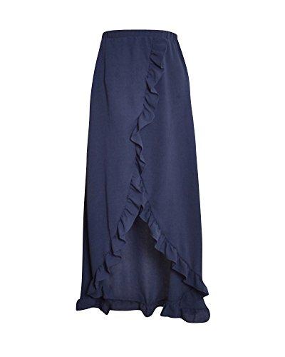 Femme Jupe lgant Bohme Taille Haute Maxi Longue Jupe Vintage Dcontract t Marine