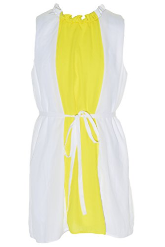 Blush by Us Angels Chiffon Colorblock Dress (White/Yellow, - Belted Cocktail Mod