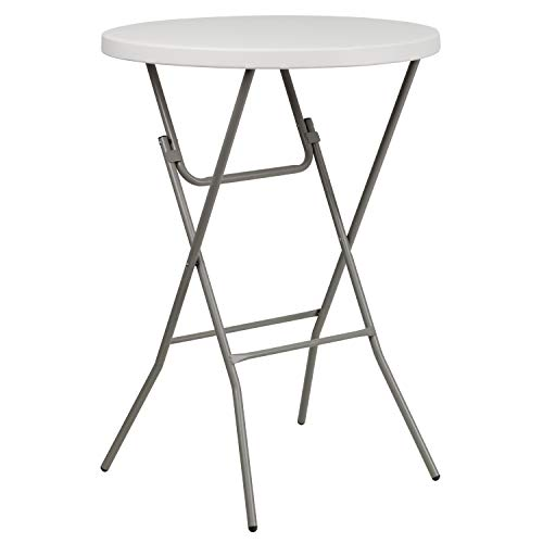 Flash Furniture 3-Foot Round Granite White Plastic Bar Height Folding Table (Table Plastic High)