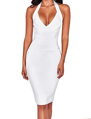 whoinshop Women's Deep V-Neck Blackless Halter Bodycon Cocktail Party Bandage Dress (M, White)