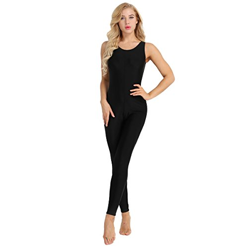 inlzdz Women's Stretchy Cotton Sleeveless Tank One Piece Unitard Bodysuit Jumpsuits Black XX-Large ()
