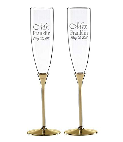 Kate Spade New York Simply Sparkling Gold Champagne Toasting Flute Pair, Crystal and Gold-Plated Metal (Personalized) by Kate Spade New York (Image #2)