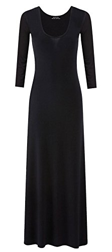 Ladies Jersey Maxi Dress Womens Plain Long Sleeves Flared Stretchy Dress#(Black Plain Jersey Maxi Dress#US 14-16#Womens) -