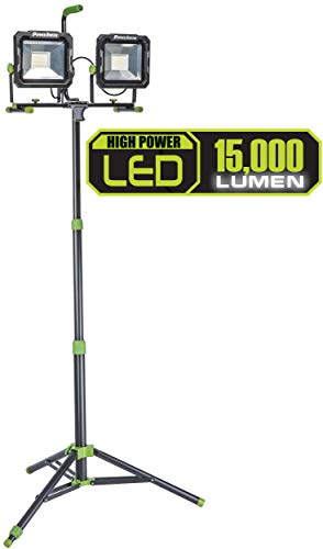 (PowerSmith PWL2150TS 15,000 Lumen LED Dual Head Work Light with Heavy-Duty Adjustable Metal Telescoping Tripod Stand, Black and Green)