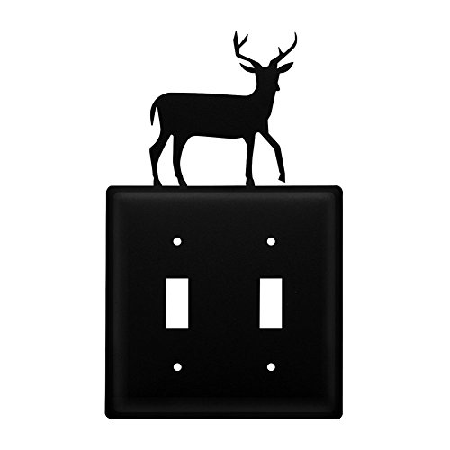 Iron Switch Electric (Iron Deer Double Switch Cover - Heavy Duty Metal Light Switch Cover, Electrical Outlet Covers, Lightswitch Covers, Wall Plate Cover)