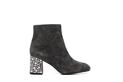 CAF NOIR LC544 botas de ante negro socket tacos del talón mujer postal gris