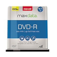 Maxell DVD-R Discs, 4.7GB, 16x, Spindle, Gold, 100/Pack