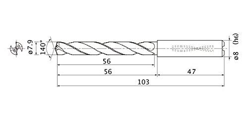 0.04 Cutting Dia Internal Coolant 0.007 Point Length 5 Hole Depth Mitsubishi Materials MZS00400LB MICRO-MZS Series Solid Carbide Drill 0.125 Shank Dia.