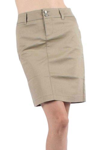 Dickies Womens Skirt - Dickies Girl - Juniors Uni Double Button Skirt, Size: 1, Color: Khaki